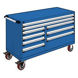 "Rousseau Metal 9 Drawer Mobile Multi-Drawer Cabinet - 60""Wx27""Dx37-1/2""H Avalanche Blue"