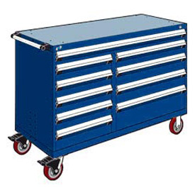 "Rousseau Metal 10 Drawer Mobile Multi-Drawer Cabinet - 60""Wx27""Dx41-1/2""H Avalanche Blue"
