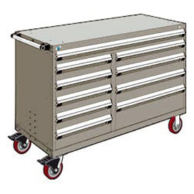 "Rousseau Metal 10 Drawer Mobile Multi-Drawer Cabinet - 60""Wx27""Dx41-1/2""H Light Gray"