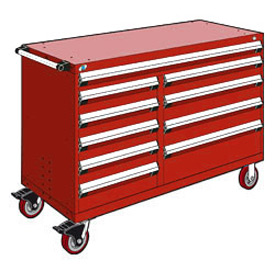 "Rousseau Metal 10 Drawer Mobile Multi-Drawer Cabinet - 60""Wx27""Dx41-1/2""H Red"