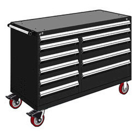 "Rousseau Metal 10 Drawer Mobile Multi-Drawer Cabinet - 60""Wx27""Dx41-1/2""H Black"