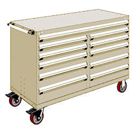 "Rousseau Metal 11 Drawer Mobile Multi-Drawer Cabinet - 60""Wx27""Dx41-1/2""H Beige"