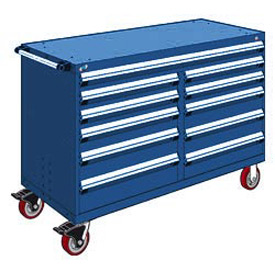 "Rousseau Metal 11 Drawer Mobile Multi-Drawer Cabinet - 60""Wx27""Dx41-1/2""H Avalanche Blue"