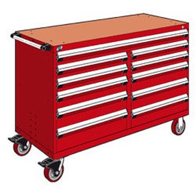 "Rousseau Metal 11 Drawer Mobile Multi-Drawer Cabinet - 60""Wx27""Dx41-1/2""H Red"