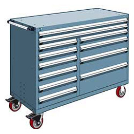 "Rousseau Metal 12 Drawer Mobile Multi-Drawer Cabinet - 60""Wx27""Dx45-1/2""H Everest Blue"