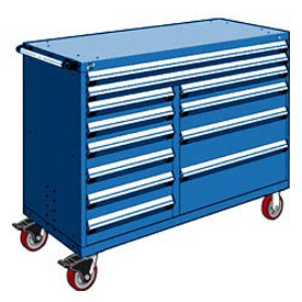 "Rousseau Metal 12 Drawer Mobile Multi-Drawer Cabinet - 60""Wx27""Dx45-1/2""H Avalanche Blue"
