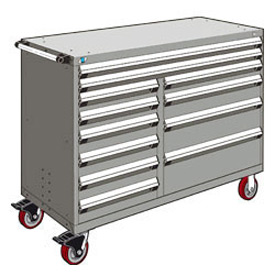 "Rousseau Metal 12 Drawer Mobile Multi-Drawer Cabinet - 60""Wx27""Dx45-1/2""H Light Gray"