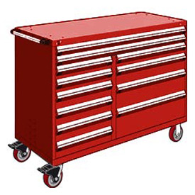 "Rousseau Metal 12 Drawer Mobile Multi-Drawer Cabinet - 60""Wx27""Dx45-1/2""H Red"