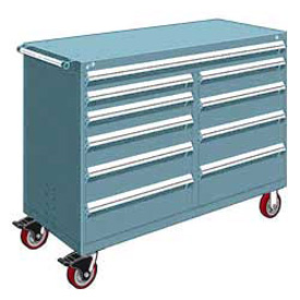 "Rousseau Metal 10 Drawer Mobile Multi-Drawer Cabinet - 60""Wx27""Dx45-1/2""H Everest Blue"
