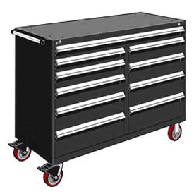"Rousseau Metal 10 Drawer Mobile Multi-Drawer Cabinet - 60""Wx27""Dx45-1/2""H Black"