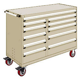 "Rousseau Metal 11 Drawer Mobile Multi-Drawer Cabinet - 60""Wx27""Dx45-1/2""H Beige"