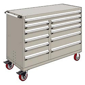 "Rousseau Metal 11 Drawer Mobile Multi-Drawer Cabinet - 60""Wx27""Dx45-1/2""H Light Gray"