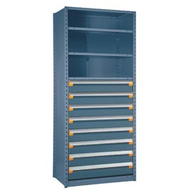 "Steel Shelving 36""Wx24""Dx87""H Closed 5 Shelf 8 Drawer Everest Blue"
