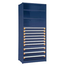 "Steel Shelving 36""Wx24""Dx87""H Closed 5 Shelf 10 Drawer Avalanche Blue"