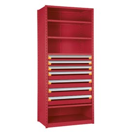 "Steel Shelving 42""Wx18""Dx75""H Closed 5 Shelf 7 Drawer Red"