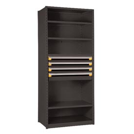 "Steel Shelving 42""Wx18""Dx87""H Closed 6 Shelf 4 Drawer Black"