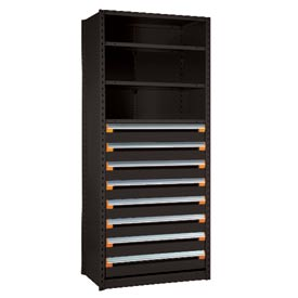 "Steel Shelving 42""Wx18""Dx87""H Closed 5 Shelf 8 Drawer Black"