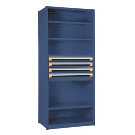 "Steel Shelving 48""Wx18""Dx87""H Closed 6 Shelf 4 Drawer Avalanche Blue"