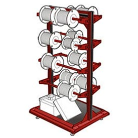 "Stationary Reel Rack 32""W x 27""D x 55""H Bottom Shelf 8 Storage Rods Red"