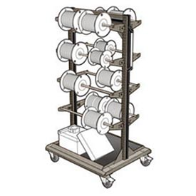 "Mobile Reel Rack 32""W x 27""D x 59-1/4""H Bottom Shelf 8 Storage Rods Light Gray"