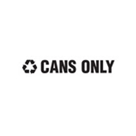 "Recycling Decals ""Cans Only"" - Black 1""H X 8""W Pkg Qty 10 - Pkg Qty 10"