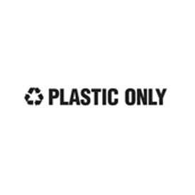 "Recycling Decals ""Plastic Only"" - Black 1""H X 8""W Pkg Qty 10 - Pkg Qty 10"