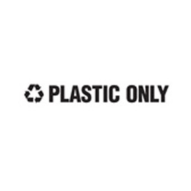 "Recycling Decals ""Plastic Only"" - White 1""H X 8""W Pkg Qty 10 - Pkg Qty 10"