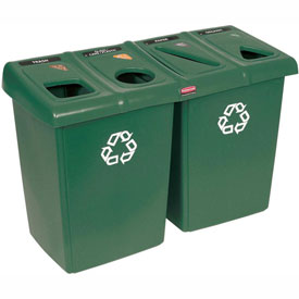 Rubbermaid Glutton® Waste and Recycling Station - Dark Green
