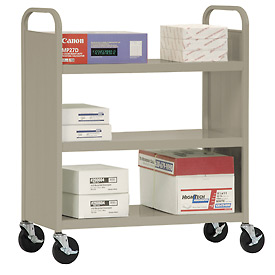 Sandusky® SF336 Double-Sided Flat 3 Shelf Steel Cart 37x18 - Tropic Sand
