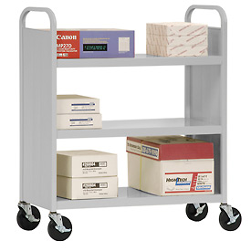 Sandusky® SF336 Double-Sided Flat 3 Shelf Steel Cart 37x18 - Dove Gray