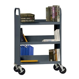 Sandusky® SFV336 Flat Top Shelf Steel Book Cart 37x18 - Charcoal