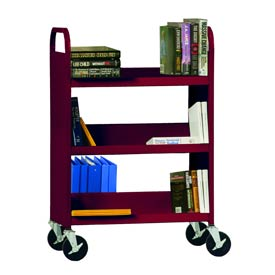 Sandusky® SFV336 Flat Top Shelf Steel Book Cart 37x18 - Burgundy