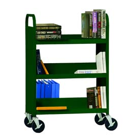 Sandusky® SFV336 Flat Top Shelf Steel Book Cart 37x18 - Forest Green