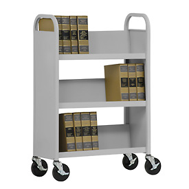 Sandusky® SL330 Single-Sided Slant 3 Shelf Book Cart 31x13 - Dove Gray