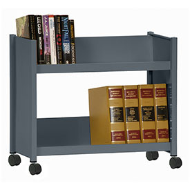 Sandusky® SR227 Single-Side Slanted 2 Shelf Book Cart 28 x 13 - Charcoal