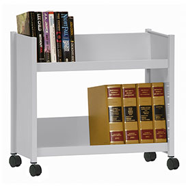 Sandusky® SR227 Single-Side Slanted 2 Shelf Book Cart 28 x 13 - Dove Gray
