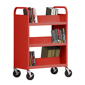 Sandusky® SV336 Double-Sided Slant 6 Shelf Steel Book Cart 37x18 - Red