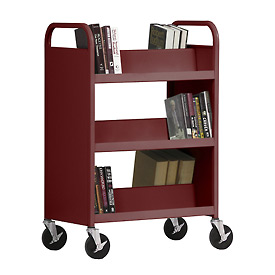 Sandusky® SV336 Double-Sided Slant 6 Shelf Steel Book Cart 37x18 - Burgundy