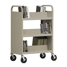 Sandusky® SV336 Double-Sided Slant 6 Shelf Steel Book Cart 37x18 - Sand