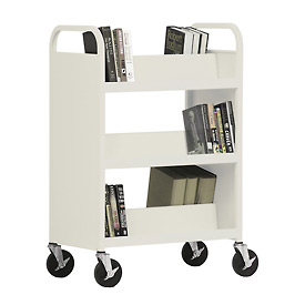 Sandusky® SV336 Double-Sided Slant 6 Shelf Steel Book Cart 37x18 - Putty