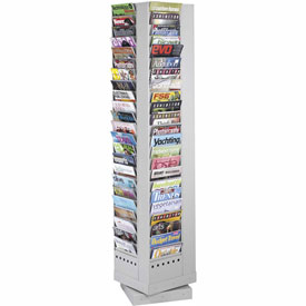 92 Pocket Steel Rotary Magazine Rack - Gray
