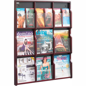 Expose 9 Magazine 18 Pamphlet Display - Mahogany/Black