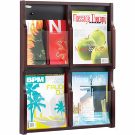 Expose 4 Magazine 8 Pamphlet Display - Mahogany/Black