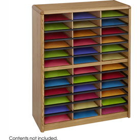 36 Compartment Economy Literature Organizer - Medium Oak