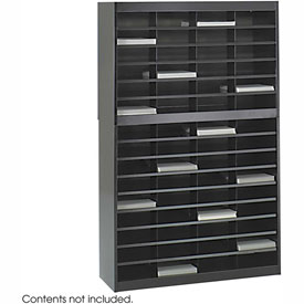 60 Compartment Steel Literature Organizer - Black
