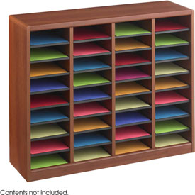 36 Compartment Wooden Literature Organizer - Cherry