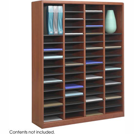 60 Compartment Wooden Literature Organizer - Cherry