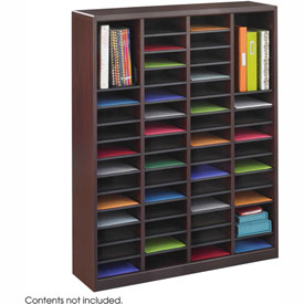 60 Compartment Wooden Literature Organizer - Mahogany
