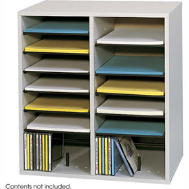 16 Compartment Adjustable Literature Organizer - Gray