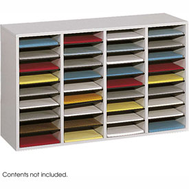 36 Compartment Adjustable Literature Organizer - Gray